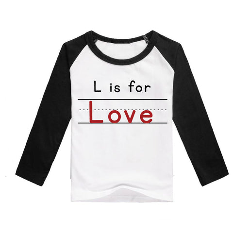 """L is for Love"" Kids 3/4 Raglan - Twin Rivers Clothing Co."