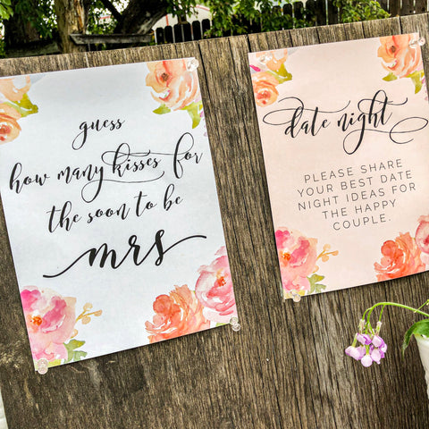 Bridal shower sign in table