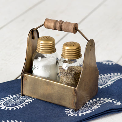 Tiny Toolbox Salt and Pepper Caddy with Antique Brass Shakers