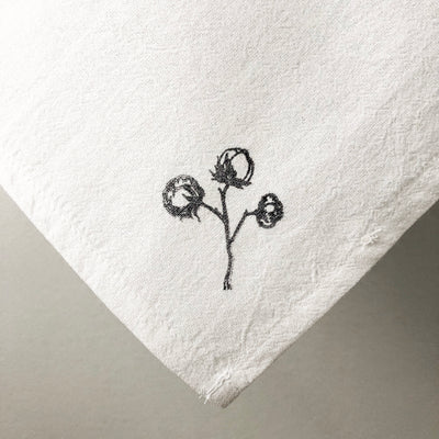 Flour Sack Towel - Vintage Cotton Stem - Small/Black