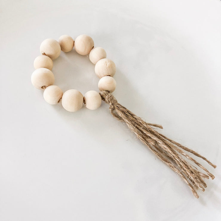 Natural Wooden Bead & Fringe Napkin Ring - Set of 4