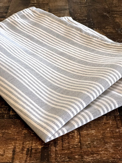 Chambray & White Stripe Bistro Napkin - Gray - Set of 4
