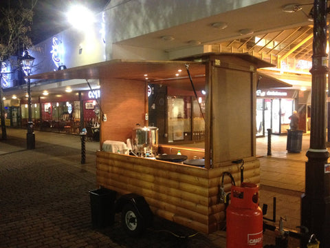 Portable Street Food Hut with trailer - night scene