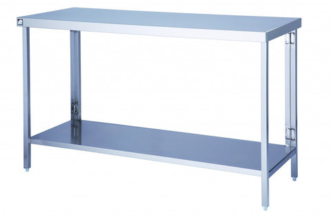 Stainless Steel Flatpack Wall Table With Under shelf