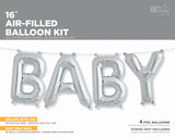 Baby Ballon Girlande silber Babyshower party Gratulation Folienballon balloon silver garland