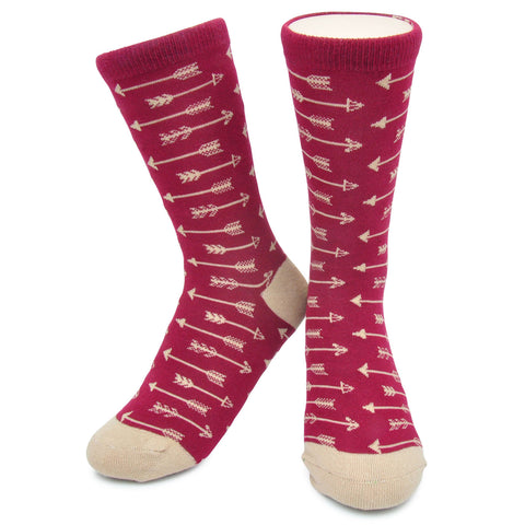 Crew Socks - Arrows -  Burgundy/Tan