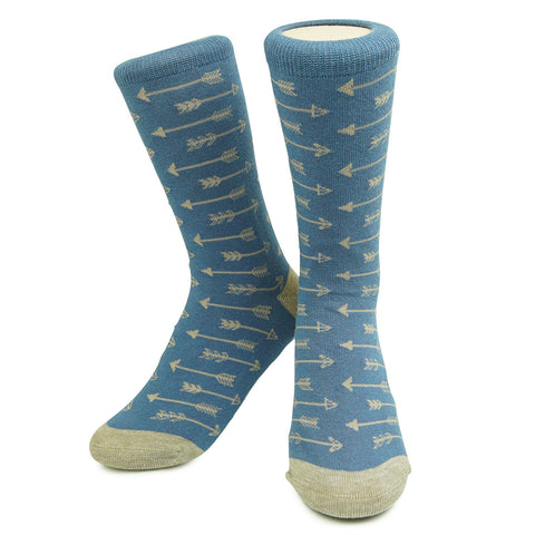 Crew Socks - Arrows - Heather Navy/Tan