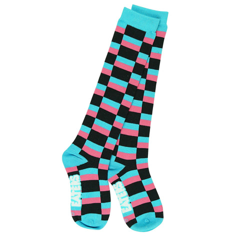Knee High Socks - Blocks - Black