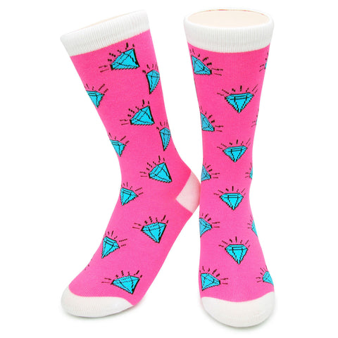 Crew Socks - Diamonds Pink/White