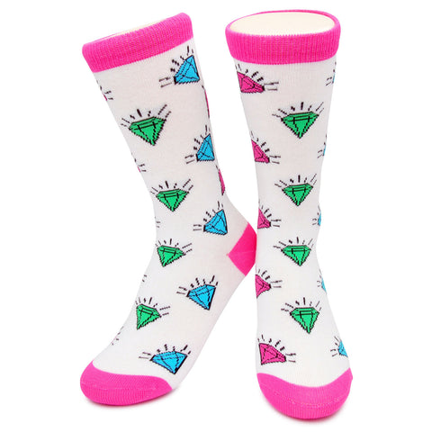 Crew Socks - Diamonds White/Pink