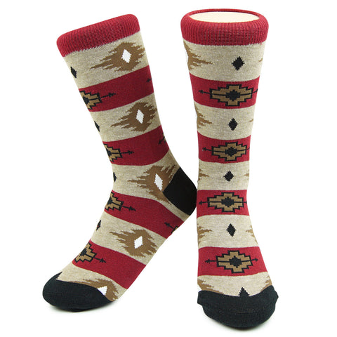 Crew Socks - El Paso - Tan/Burgundy