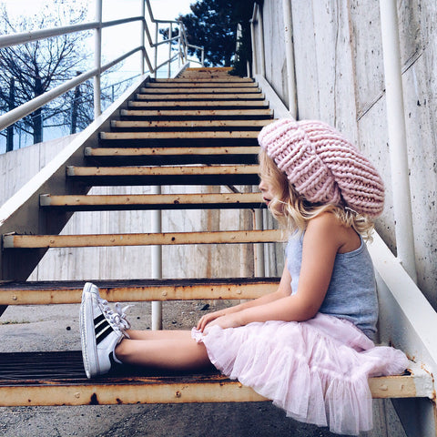 Mega Knit Slouchie Beanie - Pink