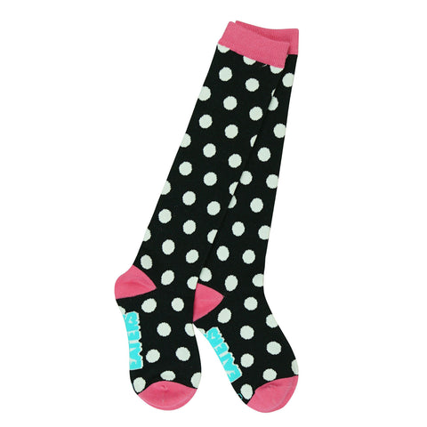 Knee High Socks - Polka Dots - Black