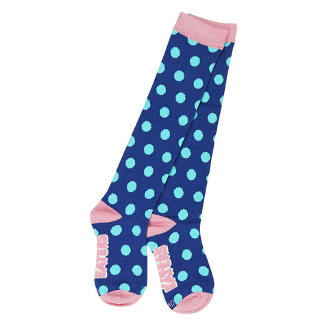 Knee High Socks - Polka Dots - Blue