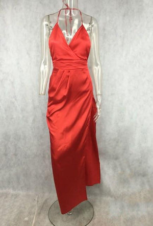 V Neck Silk Dress