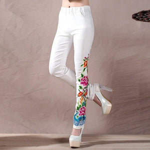Embroidered Floral Jeans