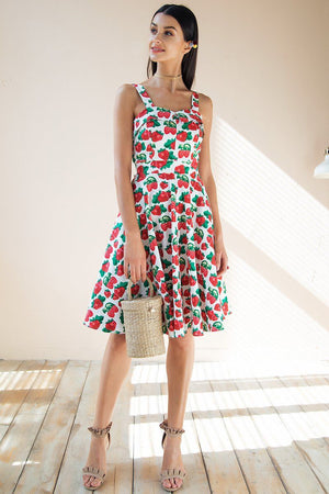 Fruit Print Midi Dress