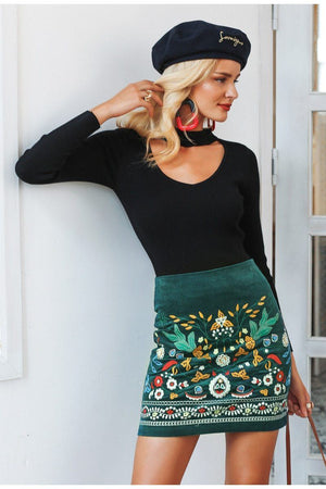 Autumn & Flowers Print Skirt