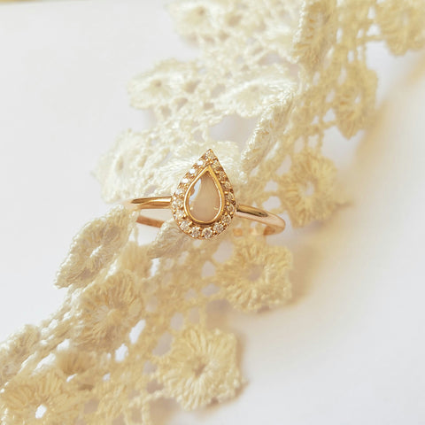 Milk Drop with Diamonds, Solid 14kt Gold DNA Ring