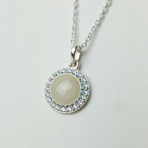 Round Halo Pendant, solid 14kt Gold or Sterling Silver with Birthstones
