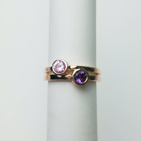 Birthstone Stacking Ring, Solid Sterling Silver or Solid 14kt Gold