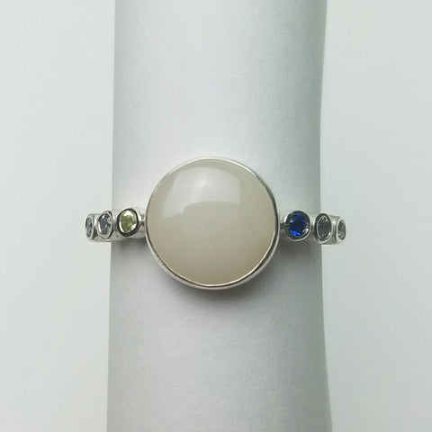 In Bloom, Sterling Silver Breastmilk and Birthstone ring