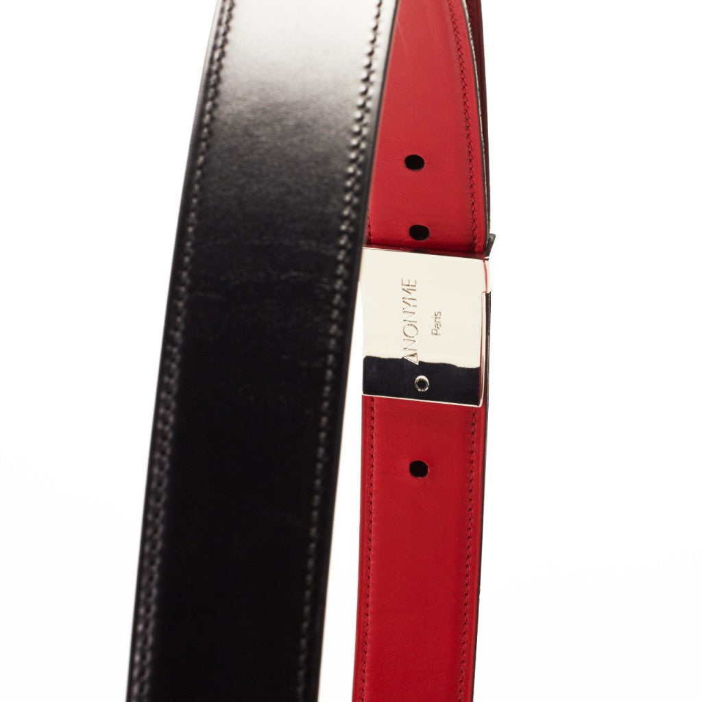 Made in France LIANE Luxury Belt in Black Taurillon leather by ANONYME PARIS