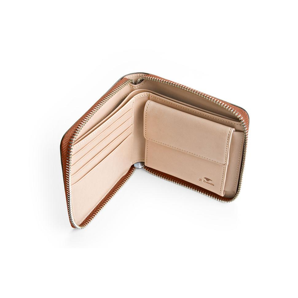 Bi-Fold Zip Wallet - Light Brown