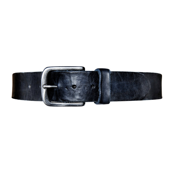 Washed Leather Belt - Navy