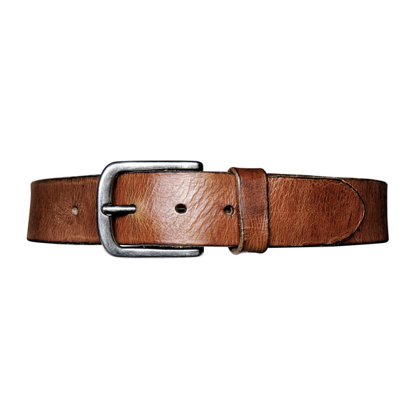 Washed Leather Belt - Cognac