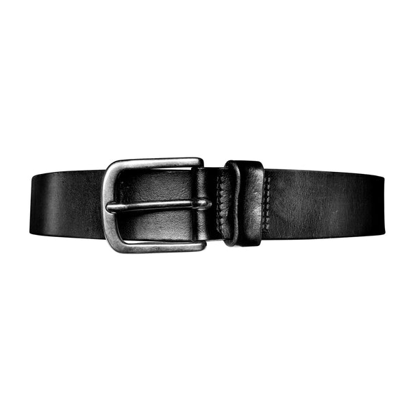 Washed Leather Belt - Black
