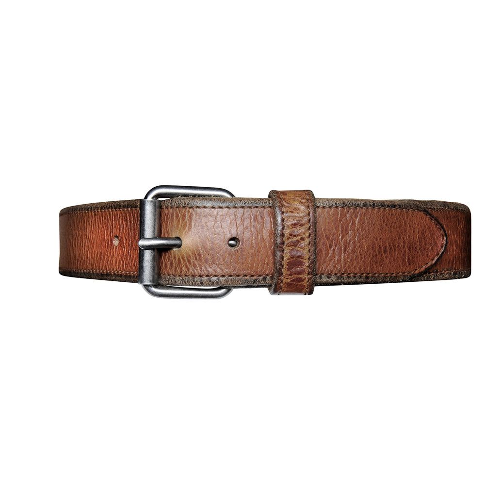 Contrast Stich Leather Belt - Cognac