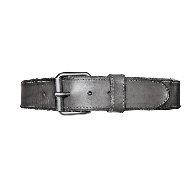 Contrast Stich Leather Belt - Grey