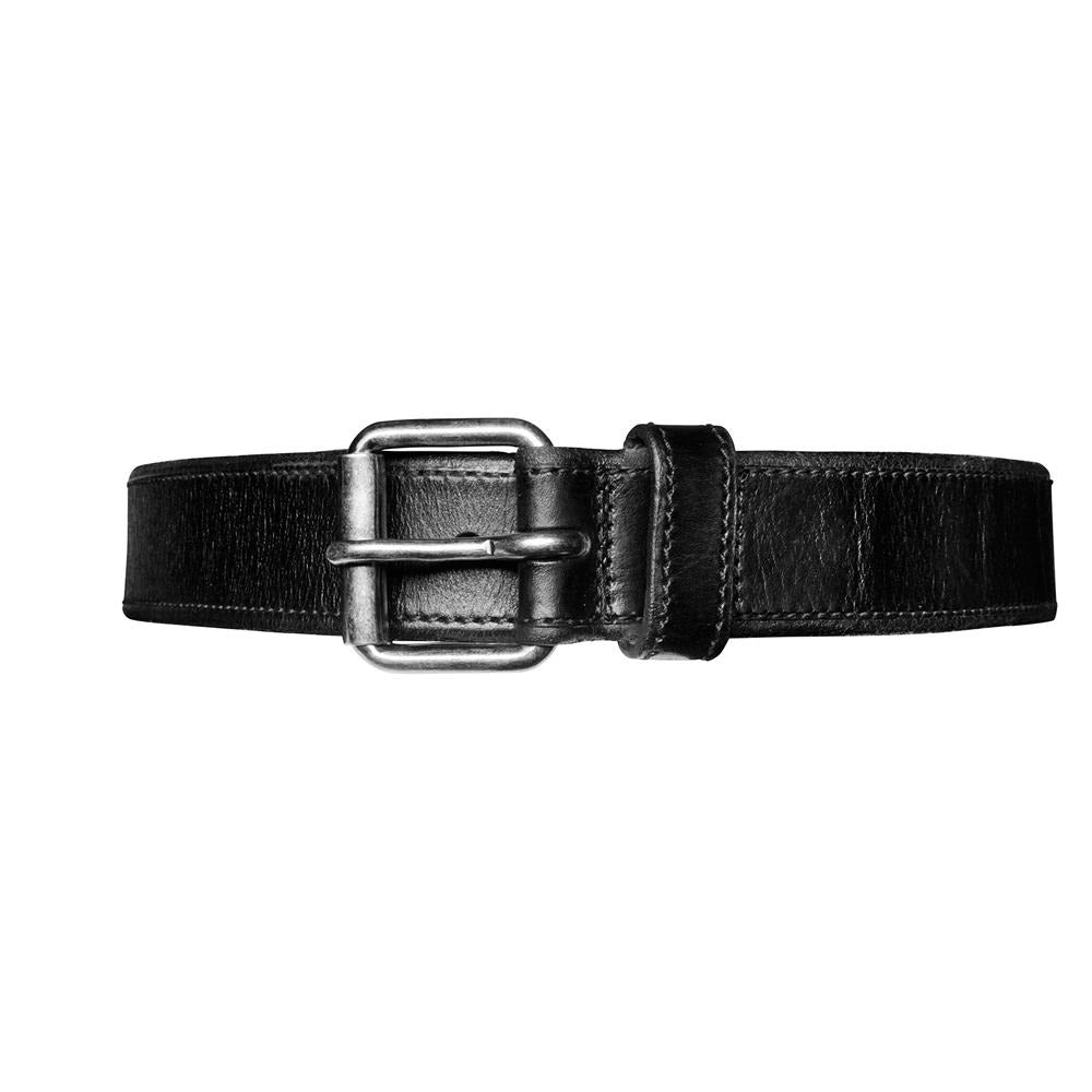 Contrast Stich Leather Belt - Black
