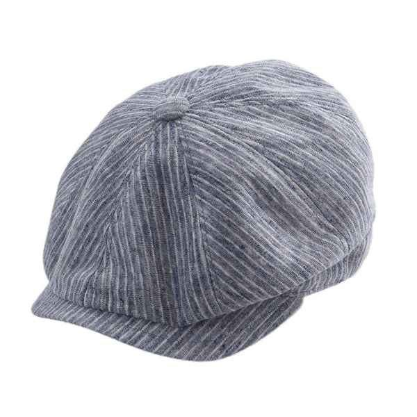 Gatsby Cap Linen Stripe - Denim
