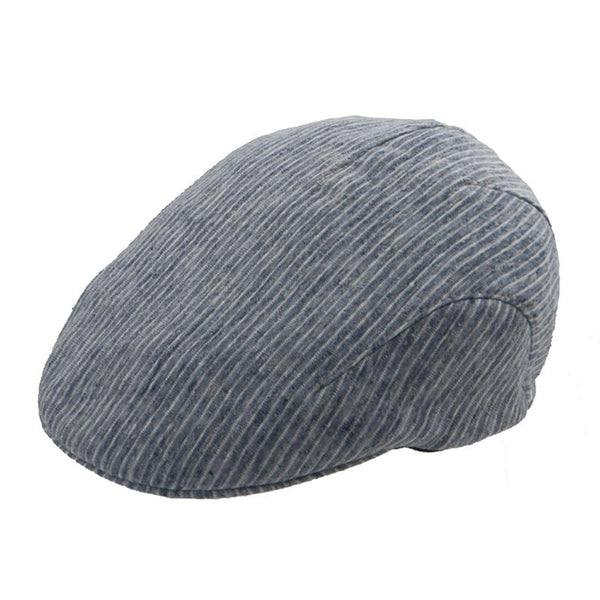 Flatcap Linen Stripe - Denim