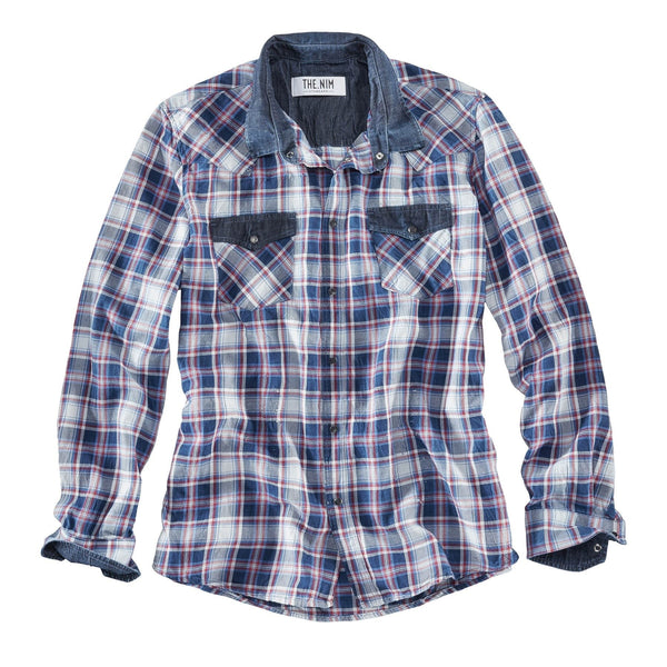 Western Shirt - White/Blue/Red Check