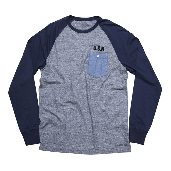 "Raglan Long Sleeve Tee ""USN""  - Black Melange"