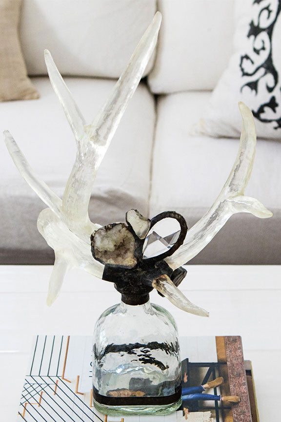 Geode + Crystal Double Clearances Antler Sculpture