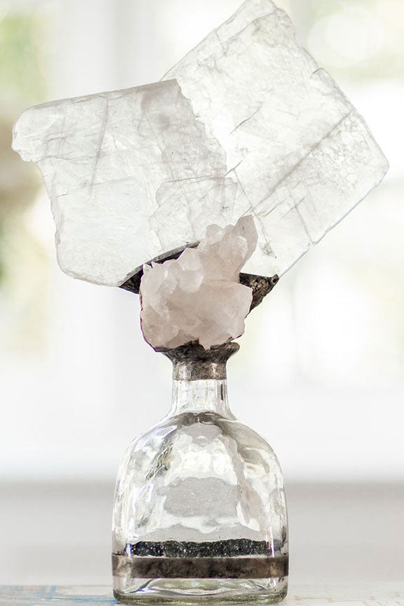 Crystal Selenite + Geode Bottle