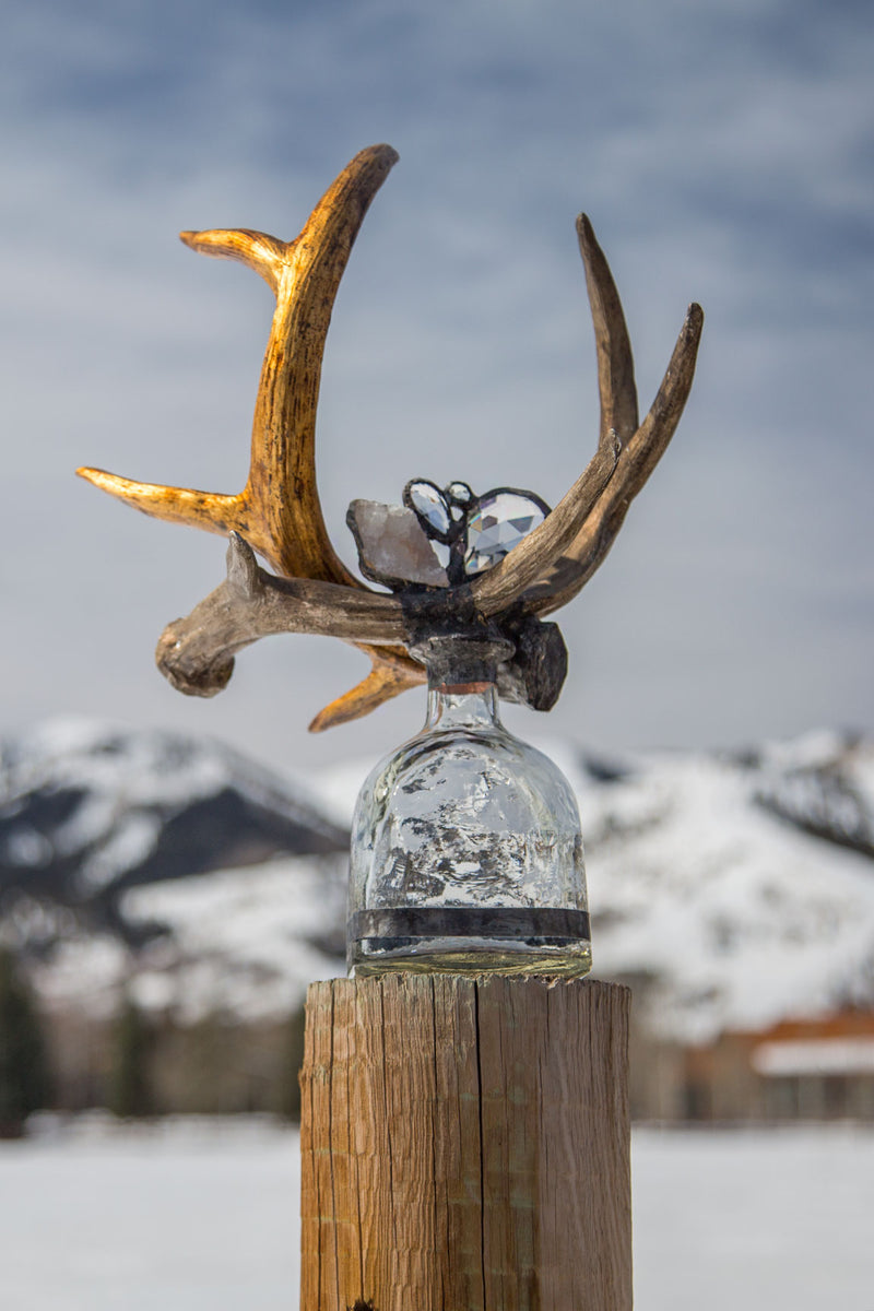 Crystal Gold + Silver Antler Sculpture