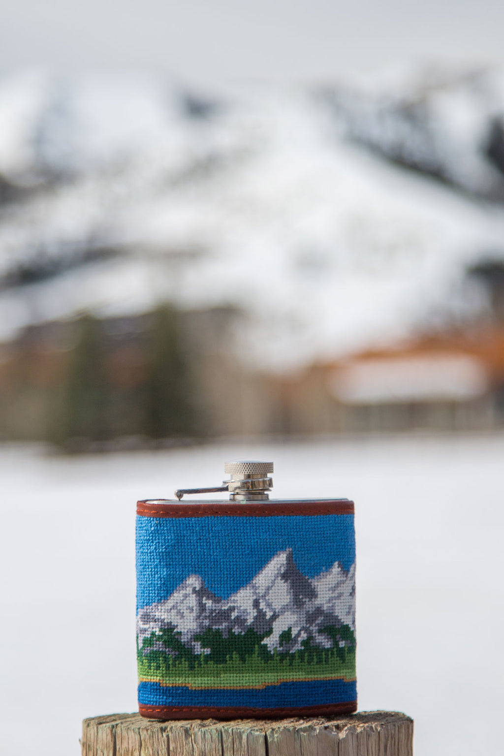 Mountain Embroidered Flask