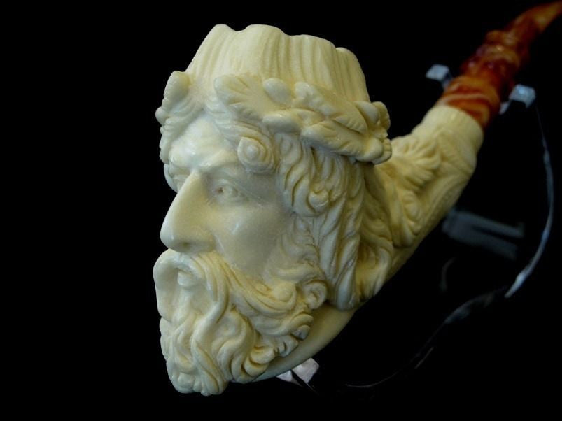 Zeus Mythological Meerschaum Pipe Block collectible pipes Yellow Big Bowl 8208