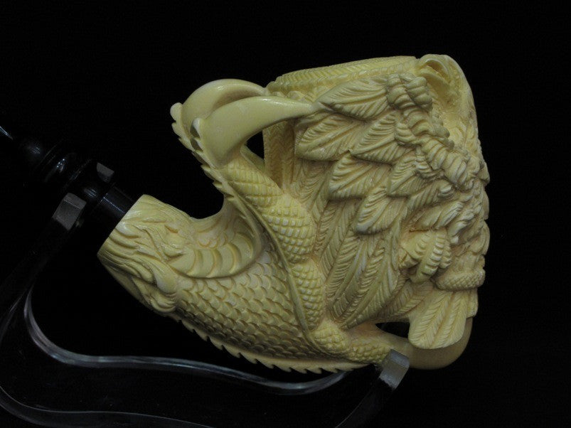 2 Headed Eagle & Reverse Dragon Claw block Meerschaum Pipe Eskisehir Turkey 0718