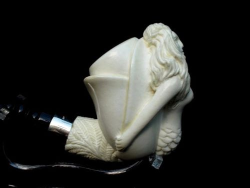 Mermaid Girl Turkish Block Meerschaum Pipe Silver Ring 3/4 Bent Acrylic Big 6919
