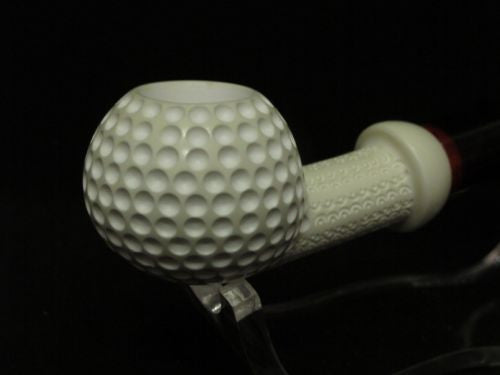 Perfect Golf Ball Block Meerschaum Pipe by Emin Small Freehand Danske shank 6383