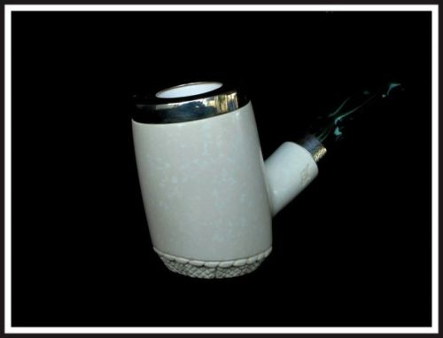 Trendy Marble Poker Big Meerschaum Pipe Special Built Silver Green Acrylic 40212