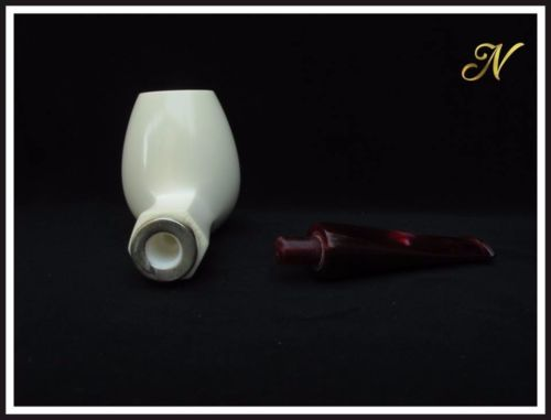 Billiard Meerschaum Pipe Special Built w/out Screw Wide Chamber Silver Nevin 158