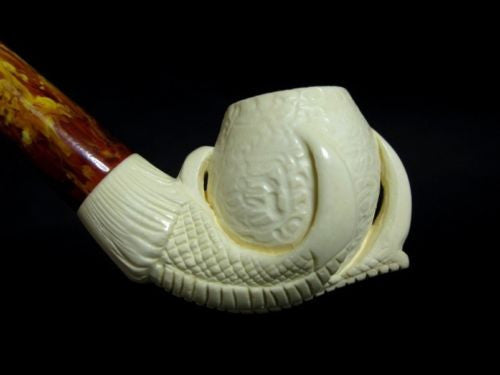 Eagle Claw & Egg Full Bent Small Meerschaum Pipe Block Hand made Long Stem 9834