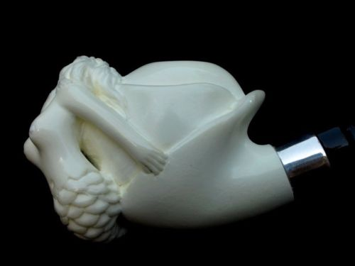 Mermaid Nude Turkish Block Meerschaum Pipe Mythological Acrylic Silver Ring 4519